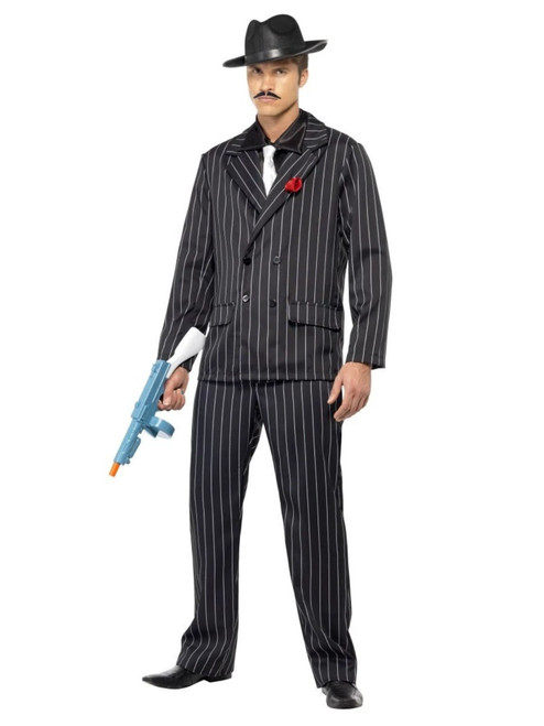 "49"" Black and White Striped Zoot Suit Men Adult Halloween Costume - Large - IMAGE 1"