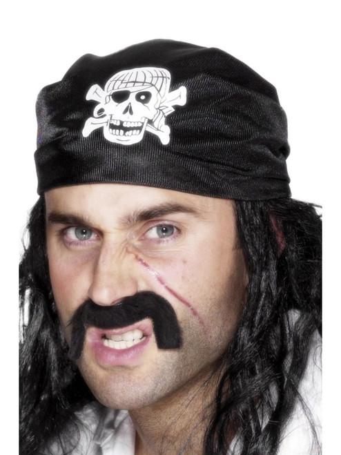"19"" Black and White Unisex Adult Halloween Pirate Bandana Costume Accessory - One Size - IMAGE 1"