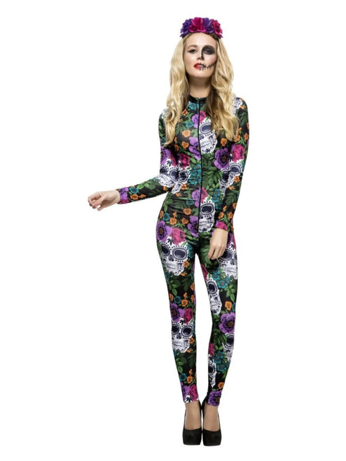 """48"""" Green and Purple Fever Day of the Dead Women Adult Halloween Costume - Large - IMAGE 1"""