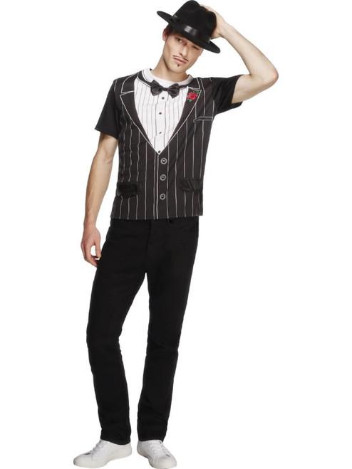 "40"" Black and White Fever Gangster T-shirt Men Adult Halloween Costume - Medium - IMAGE 1"