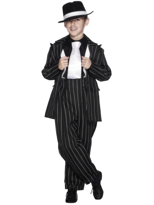 "49"" Black and White Striped Zoot Suit Boy Child Halloween Costume - Large - IMAGE 1"