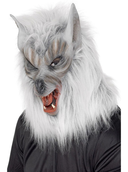"""39"""" Gray and White Men Adult Halloween Wolf Mask Costume Accessory - One Size - IMAGE 1"""