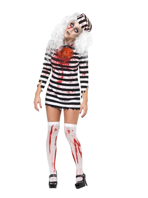 """49"""" Black and White Zombie Women Adult Halloween Costume - Small - IMAGE 1"""