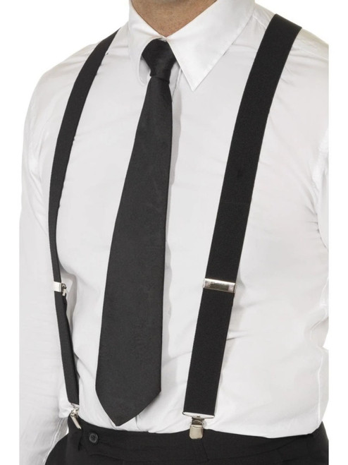 "19"" Black 1920's Elasticated Braces Unisex Adult Halloween Costume Accessory - One size - IMAGE 1"