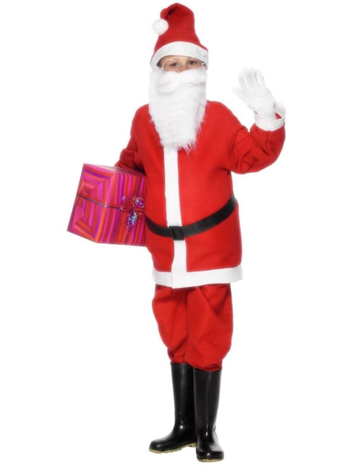 "49"" Red and White Santa Boy Child Christmas Costume - Small - IMAGE 1"