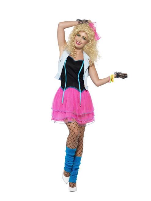 "49"" Pink and White 1980's Style Wild Women Adult Halloween Costume - Medium - IMAGE 1"