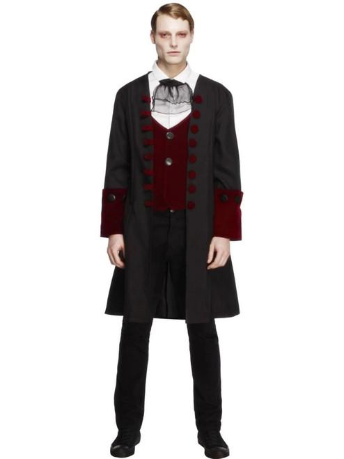 "40"" Black and Red Fever Gothic Vamp Men Adult Halloween Costume - Medium - IMAGE 1"
