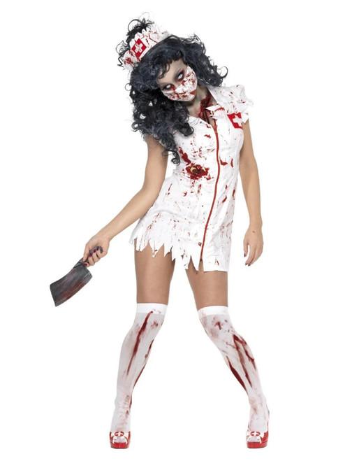 "40"" White Zombie Nurse Women Adult Halloween Costume - Medium - IMAGE 1"