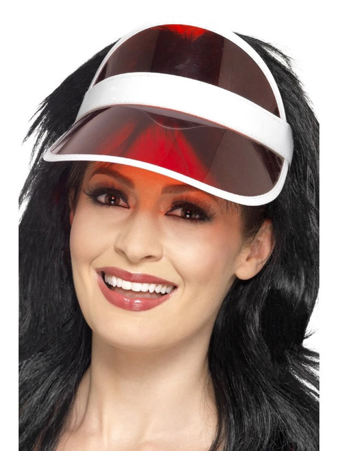 """25"""" Red 1980's Style Sun Unisex Adult Halloween Visor Costume Accessory - One Size - IMAGE 1"""