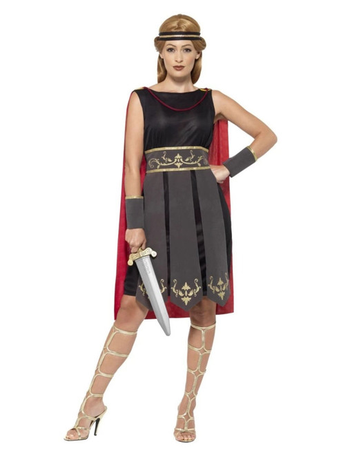 """40"""" Black and Red Roman Warrior Women Adult Halloween Costume - Small - IMAGE 1"""