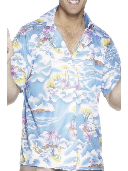 "40"" White and Blue ""HAWAII"" Printed Shirt Men Adult Halloween Costume - Large - IMAGE 1"