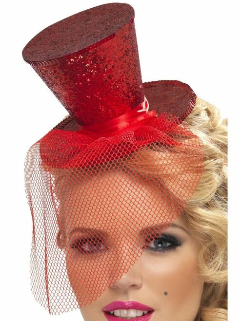 """27"""" Red Fever Mini Top Women Adult Halloween Hat on Headband Costume Accessory - One Size - IMAGE 1"""