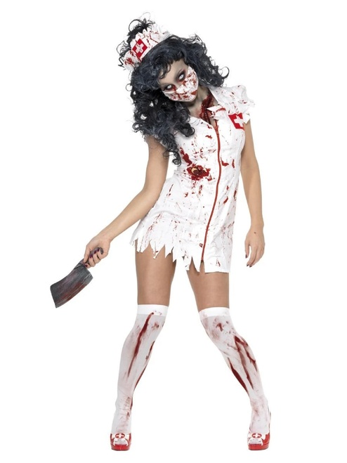 "40"" White Zombie Nurse Women Adult Halloween Costume - Large - IMAGE 1"