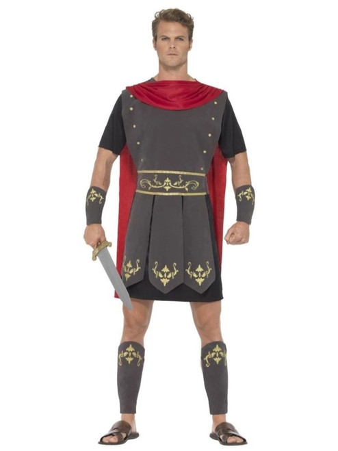 """40"""" Black and Red Roman Gladiator Men Adult Halloween Costume - Small - IMAGE 1"""