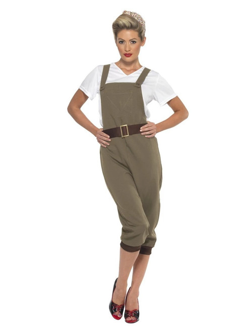 """40"""" Brown and White 1940's Style Wartime Party Women Adult Halloween Costume - Medium - IMAGE 1"""