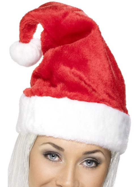 """46"""" Red and White Deluxe Santa Unisex Adult Hat Christmas Costume Accessory - One Size - IMAGE 1"""