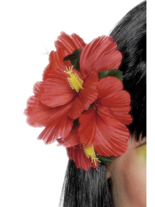 "19"" Red and Yellow Hawaiian Flower Women Adult Halloween Hair Clip Costume Accessory - One Size - IMAGE 1"