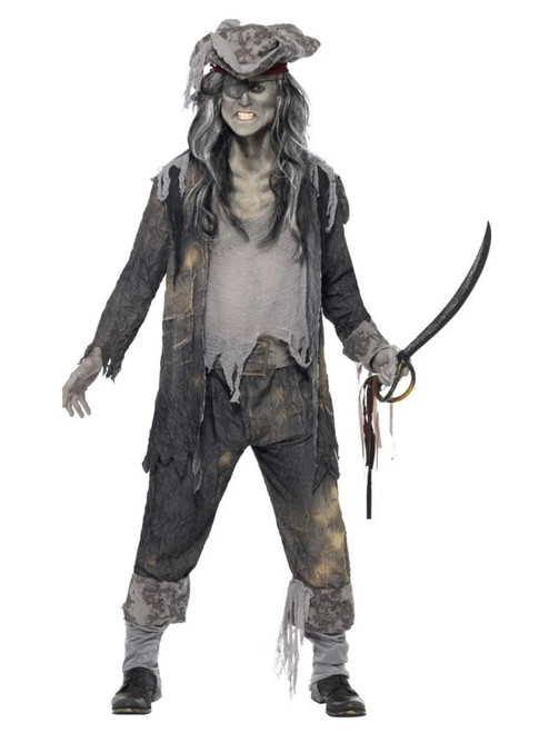 """49"""" Gray and Black Ghost Ship Ghoul Men Adult Halloween Costume - Medium - IMAGE 1"""