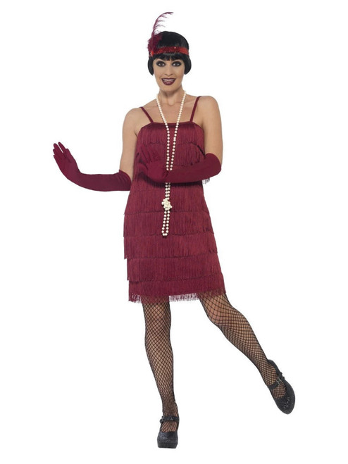 "44"" Burgundy Red 1920's Style Flapper Women Adult Halloween Costume - Medium - IMAGE 1"