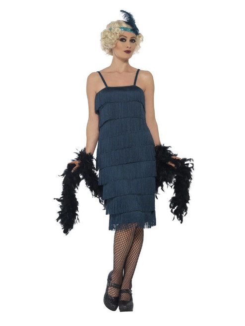 """44"""" Blue 1920's Style Flapper Women Adult Halloween Costume - Small - IMAGE 1"""