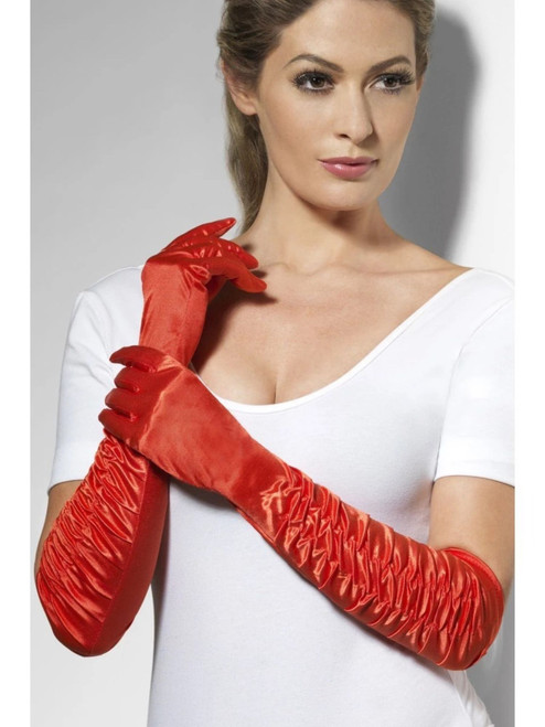 """20"""" Red Long Temptress Women Adult Halloween Gloves Costume Accessory - One Size - IMAGE 1"""
