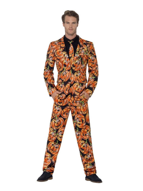 "38.5"" Orange and Black Pumpkin Men Adult Suit Halloween Costume - Medium - IMAGE 1"