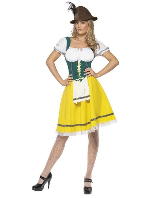 "40"" Yellow and Green Oktoberfest Women Adult Halloween Costume - Medium - IMAGE 1"