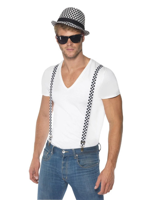 """44"""" Black and White 1980's Style Ska Men Adult Halloween Two Tone Instant Kit Costume Accessory - One Size - IMAGE 1"""