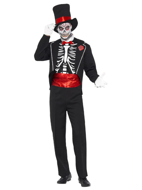 """49"""" Black Mexican Day of the Dead Men Adult Halloween Costume - Medium - IMAGE 1"""