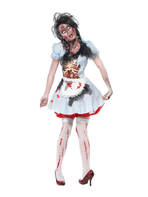 """49"""" Blue and Red Horror Zombie Women Adult Halloween Costume - Small - IMAGE 1"""