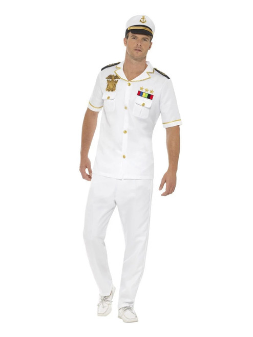 """50"""" White and Gold Captain Men Adult Halloween Costume - Small - IMAGE 1"""