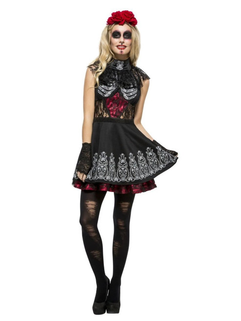 Black and White Fever Day of the Dead Women Adult Halloween Costume - Medium - IMAGE 1