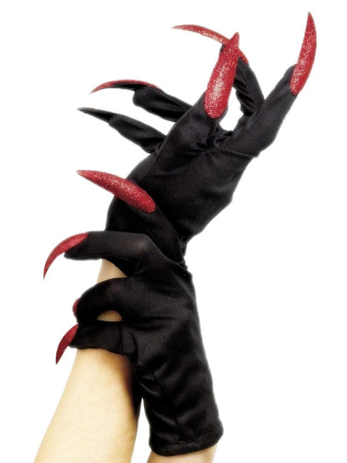 """29"""" Black and Red Halloween Women Adult Halloween Gloves Costume Accessory - One Size - IMAGE 1"""