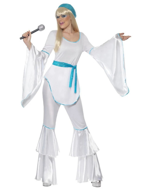 "49"" White and Blue Super Trooper Women Adult Halloween Costume - Small - IMAGE 1"