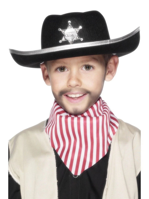 """36"""" Black and Silver Wild West Sheriff Unisex Child Halloween Hat Costume Accessory - One Size - IMAGE 1"""