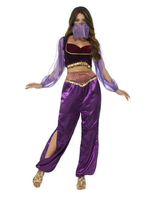 "42.5"" Purple and Red Arabian Princess Women Adult Halloween Costume - Small - IMAGE 1"