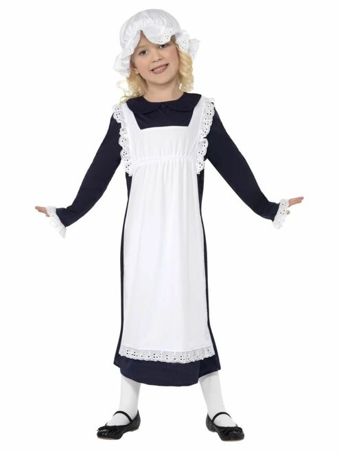 "49"" Blue and White Victorian Poor Girl Child Halloween Costume - Large - IMAGE 1"