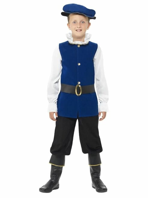 "49"" Blue and White Tudor Boy Child Halloween Costume - Small - IMAGE 1"