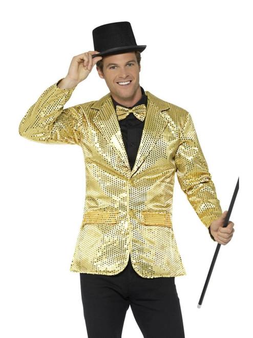 "48"" Gold Sequin Jacket Men Adult Halloween Costume - Large - IMAGE 1"