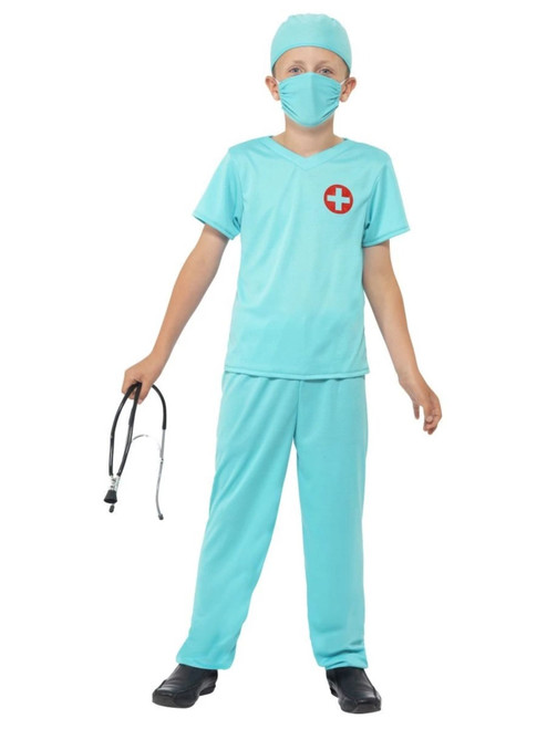 """44"""" Blue and Red Surgeon Boy Child Halloween Costume - Small - IMAGE 1"""