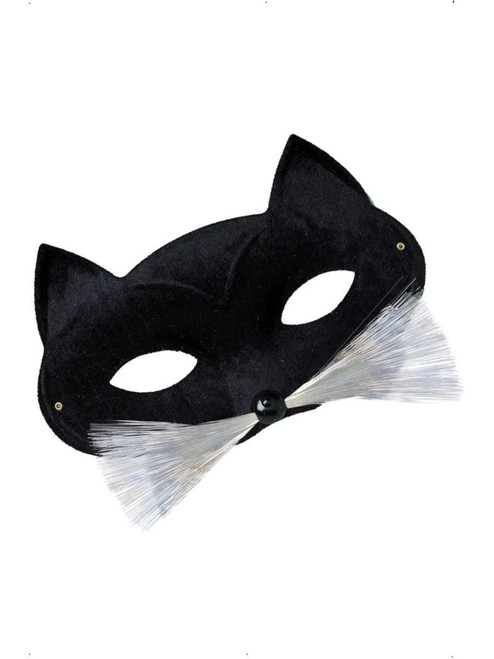 "17"" Black and White Cat Women Adult Halloween Eyemask Costume Accessory - One Size - IMAGE 1"