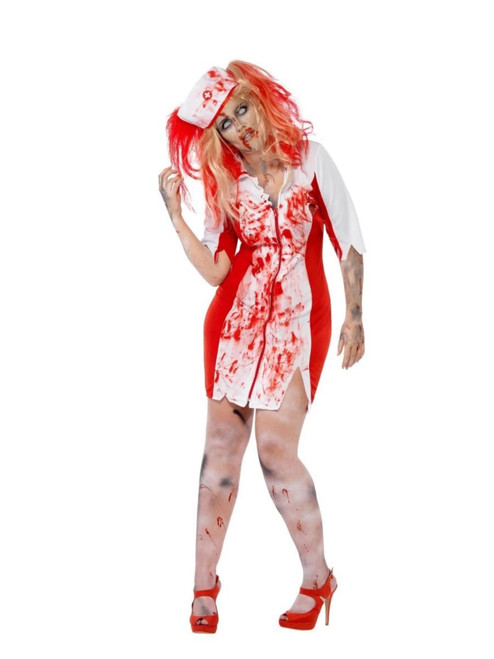 """42"""" Red and White Curves Zombie Nurse Women Adult Halloween Costume - Large - IMAGE 1"""