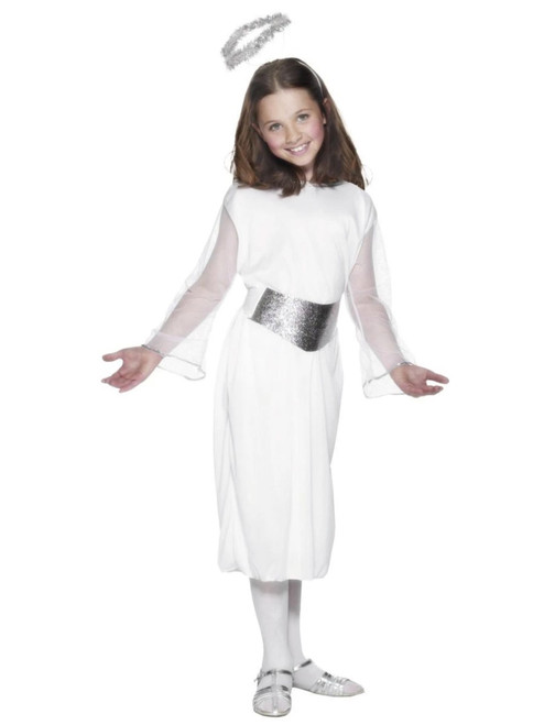 "49"" White and Silver Angel Girl Child Christmas Costume - Large - IMAGE 1"