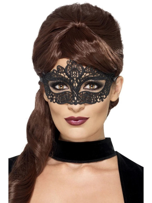 "60"" Black Embroidered Lace Filigree Women Adult Halloween Eyemask Costume Accessory - One Size - IMAGE 1"
