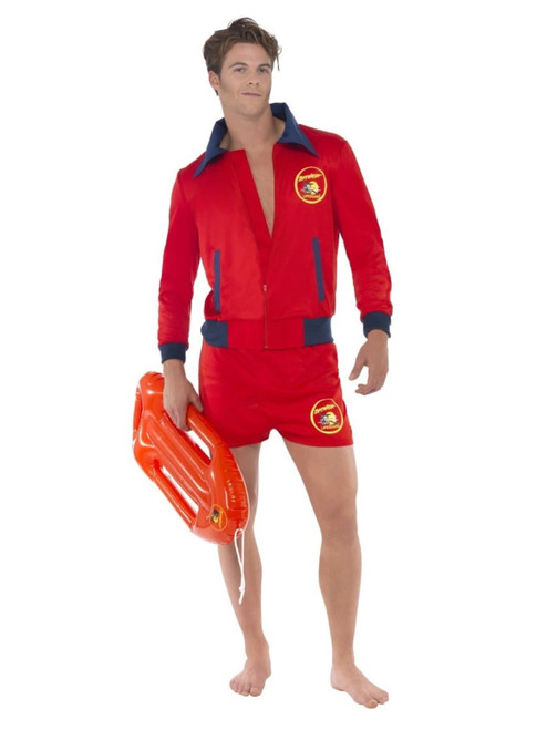 "50"" Red and Blue Baywatch Lifeguard Men Adult Halloween Costume - Large - IMAGE 1"