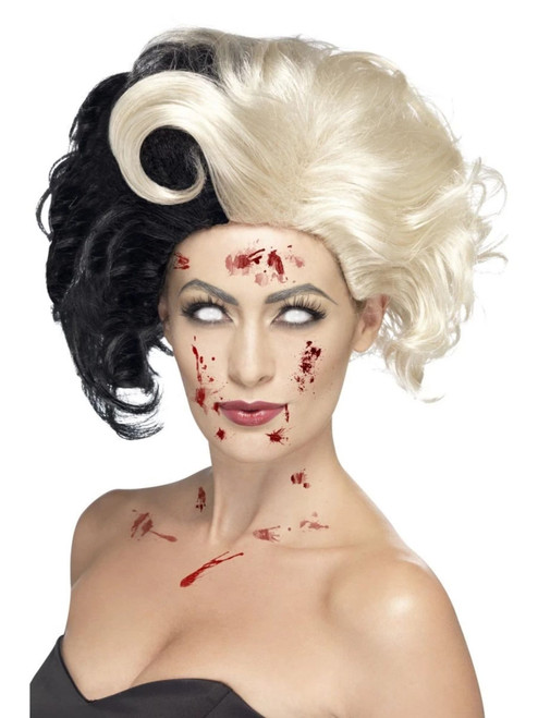 """26"""" Black and Blonde Evil Madame Deluxe Women Adult Halloween Wig Costume Accessory - One Size - IMAGE 1"""