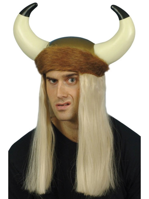 """26"""" Brown and Blonde Viking Unisex Adult Halloween Helmet with Horns Costume Accessory - One Size - IMAGE 1"""