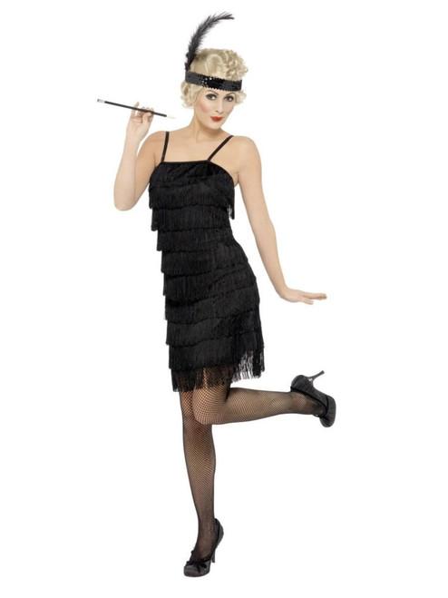 "49"" Black 1920's Deluxe Fringe Flapper Women Adult Halloween Costume - Large - IMAGE 1"