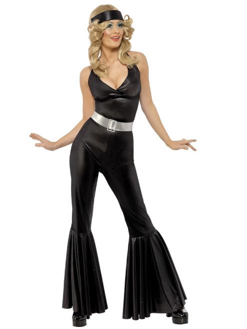 "49"" Black and Silver 1970's Style Diva Women Adult Halloween Costume - Medium - IMAGE 1"