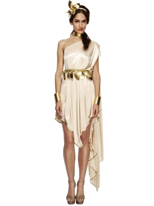 """49"""" Cream White and Gold Fever Goddess Women Adult Halloween Costume - Large - IMAGE 1"""